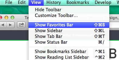 how to show favorites bar